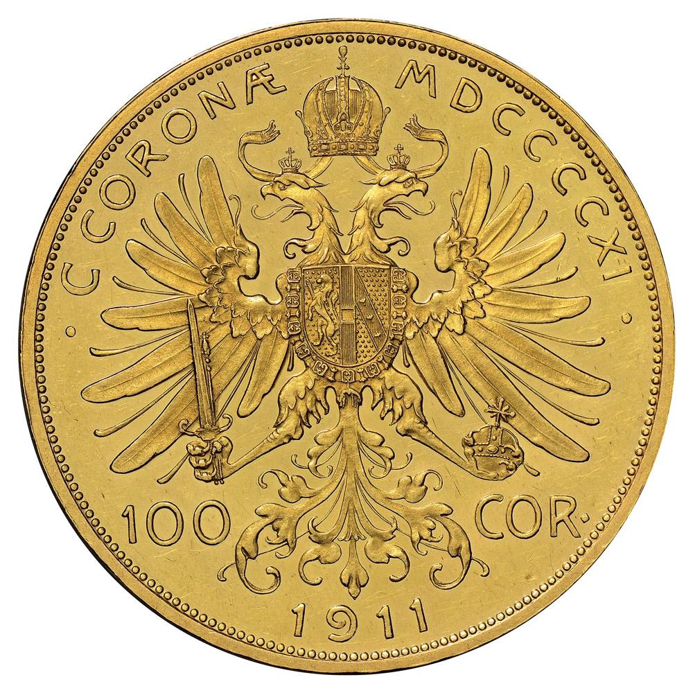 100 Corona Gold Coin - Obverse