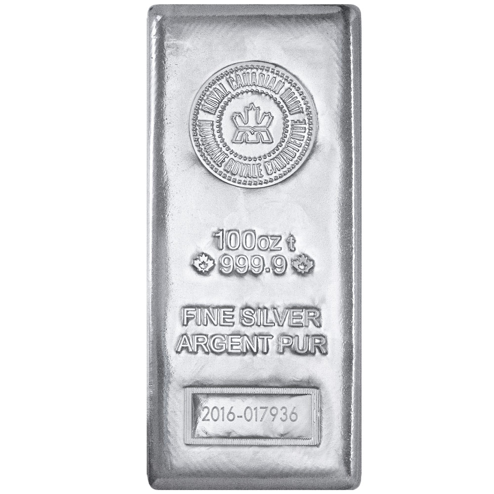 Buy 100 oz Royal Canadian Mint Silver Bars (.9999)