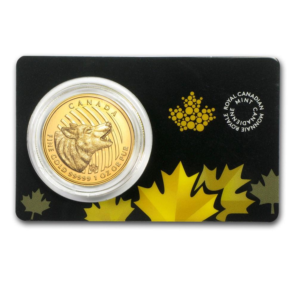 2014 Canadian 1 oz Gold Howling Wolf .99999 BU (Assay Card)