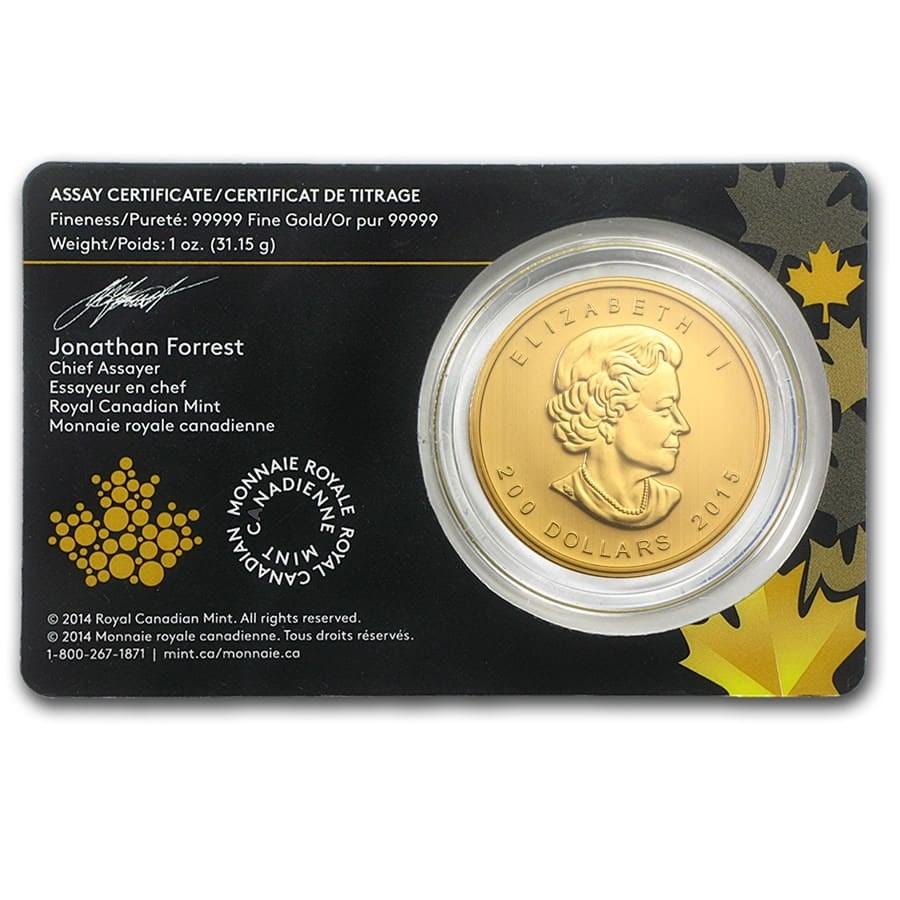 2015 Canadian 1 oz Gold Growling Cougar .99999 BU (Assay Card)