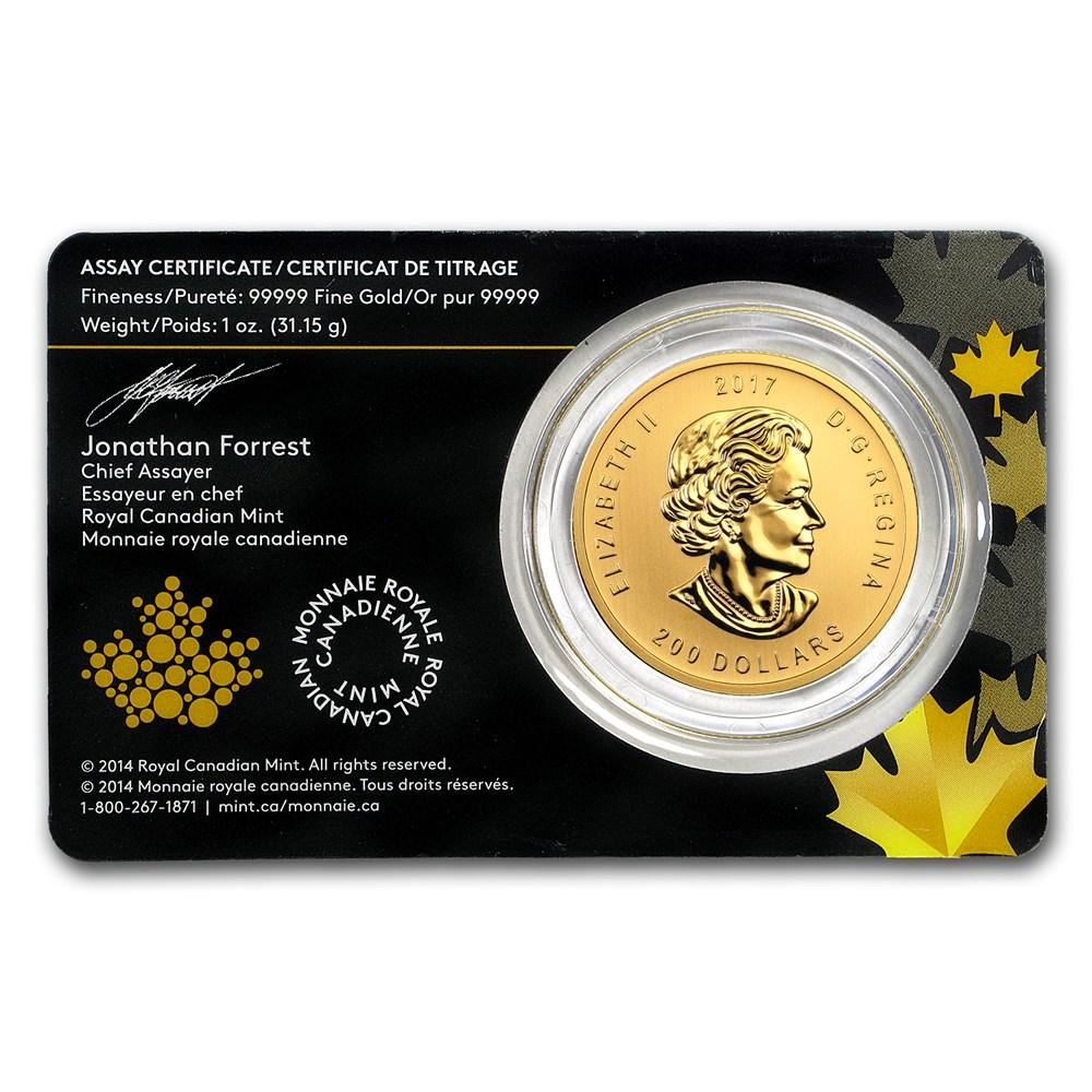 2017 Canadian 1 oz Gold Elk .99999 BU (Assay Card)