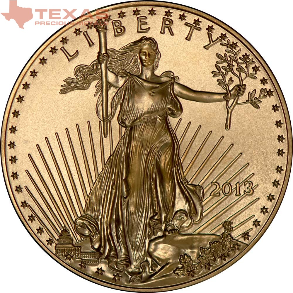 1 10 Oz American Gold Eagle Coin Texas Precious Metals
