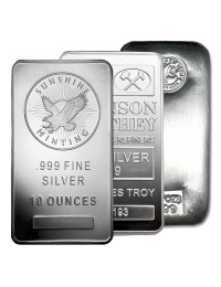 10 oz Silver Bar (Varied Condition, Any Mint)