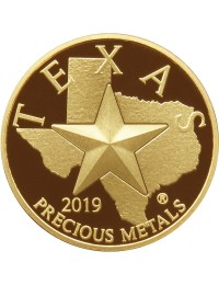 2019 Texas Gold Round with Wooden Display Box