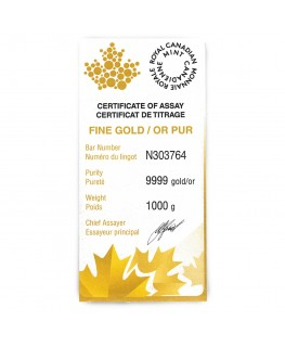 1 kilo Royal Canadian Mint Gold Bar (32.15 ozs)