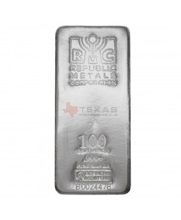 100 oz Republic Metals Silver Bars (.999)
