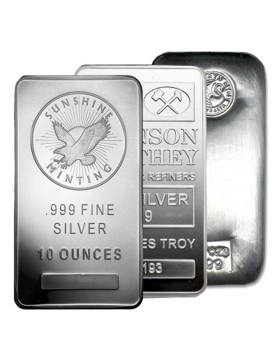 10 oz Silver Bar (Varied Condition - Mint of Our Choice)