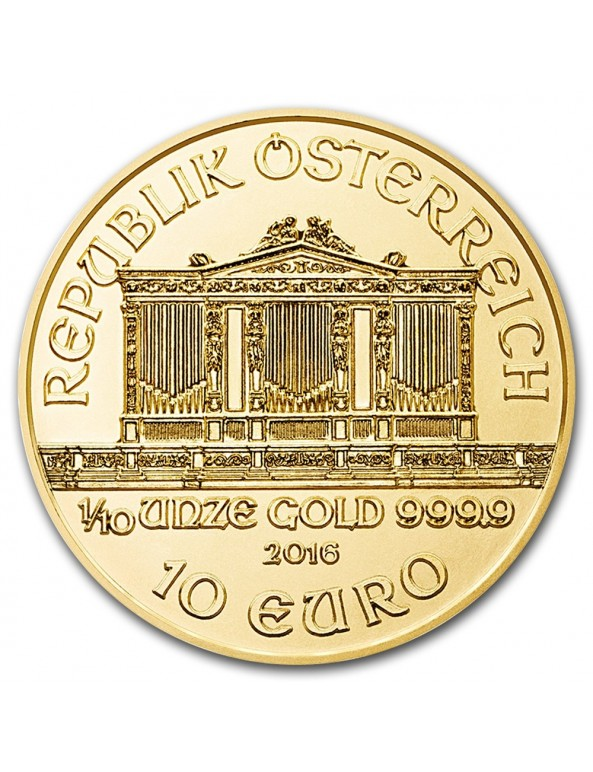 1/10 Oz Gold Philharmonic Coin (Random Year)
