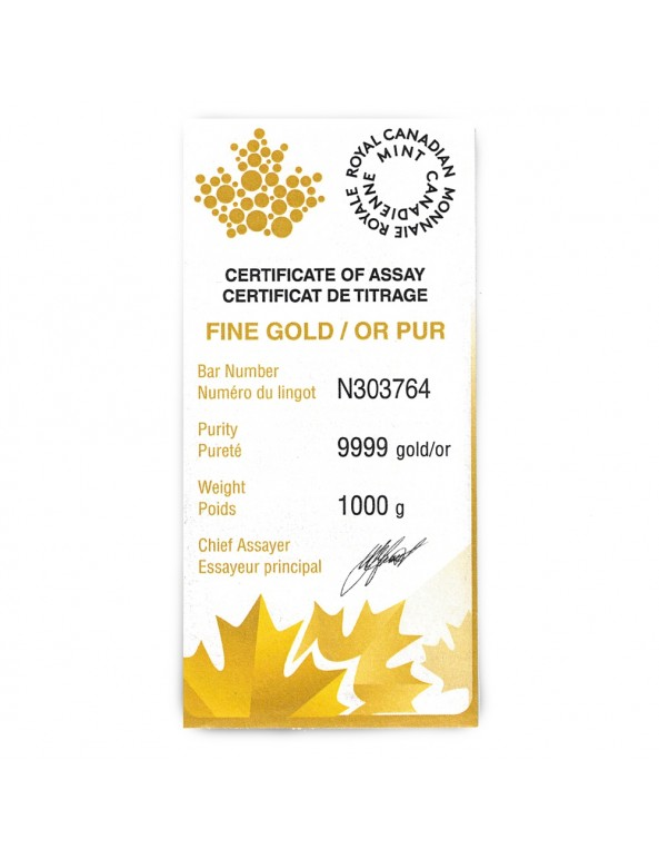 1 Kilo Gold Bar by Royal Canadian Mint