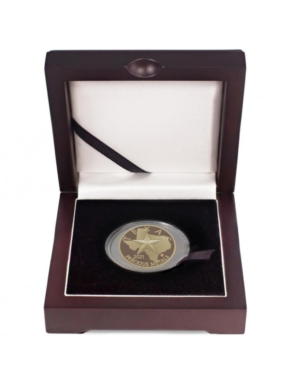 Buy 2021 Texas Gold Round with Wooden Display Box