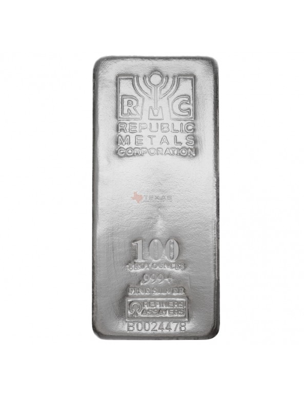 Buy 100 oz Republic Metals Silver Bars (.999)