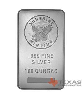 Buy 100 oz Sunshine Mint Silver Bars
