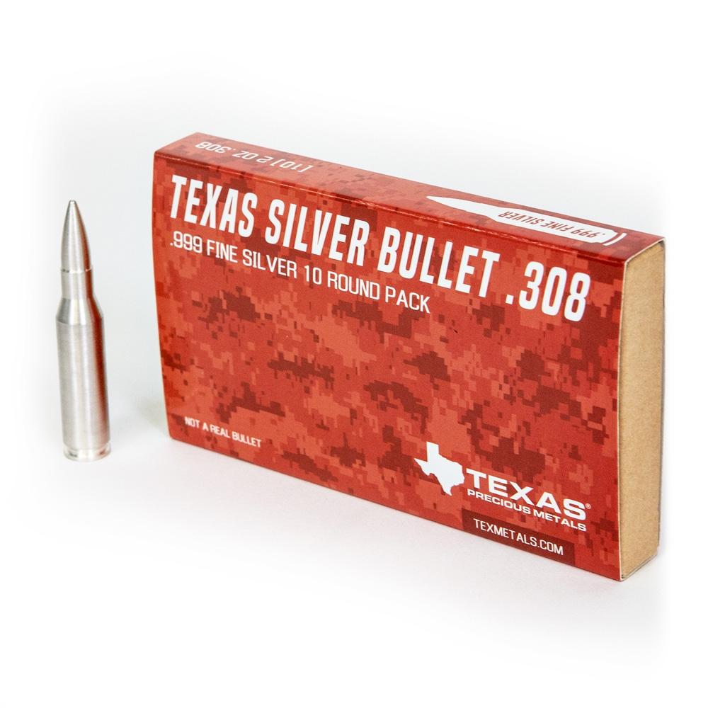 .308 Caliber Pure Silver Bullet Bullion (2 oz) *10-pack*
