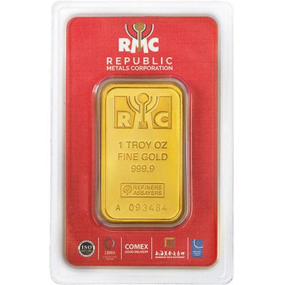1 oz Republic Metals Gold Bars front