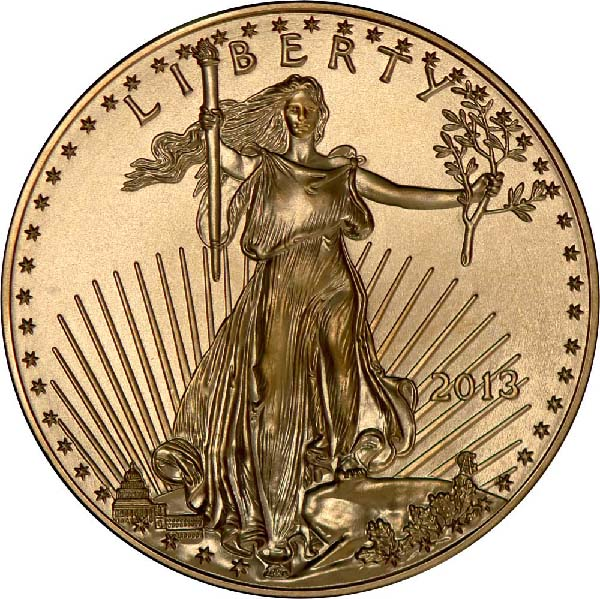 Obverse of 1/2 oz American Gold Eagle