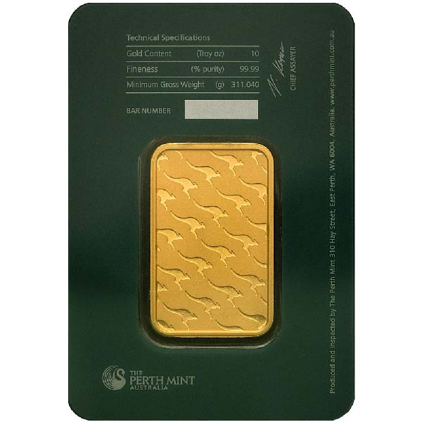 Reverse of 10 oz Perth Mint Gold Bar
