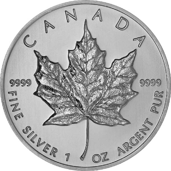 Reverse of Canadian Maple Leaf Silver Coin (Any Year)