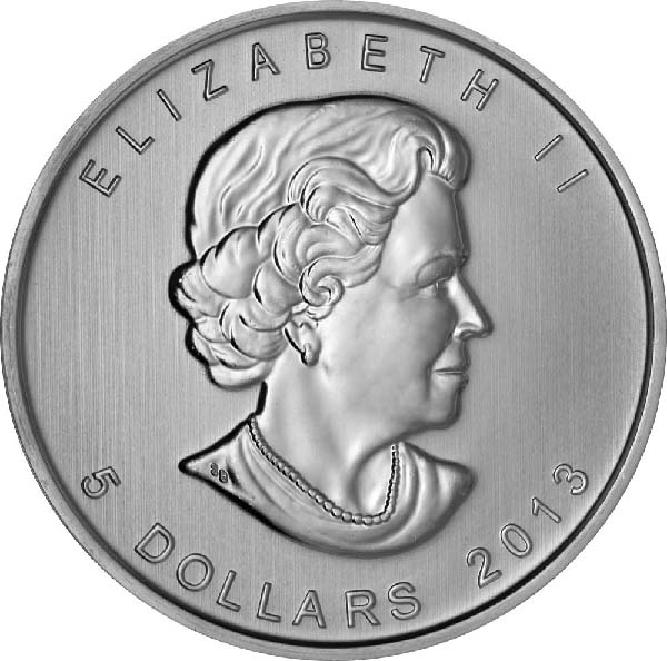 Obverse of Canadian Maple Leaf Silver Coin (Any Year)