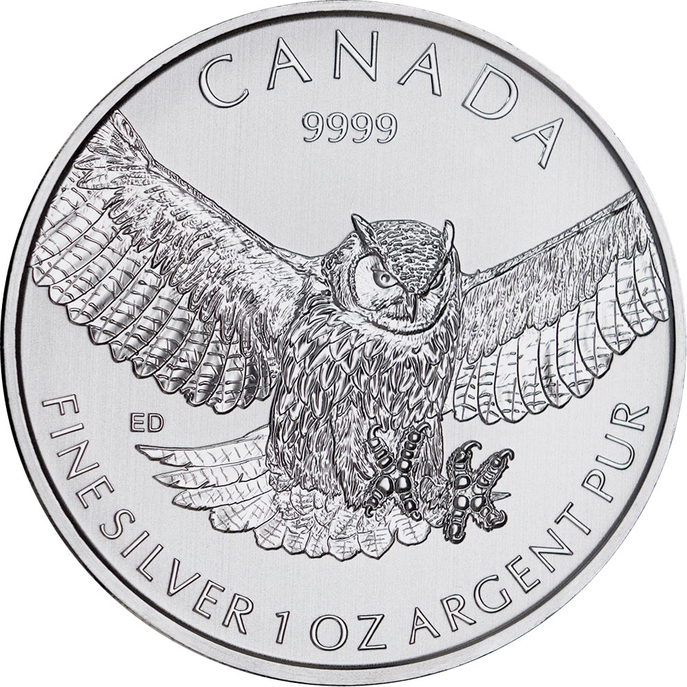 Reverse of Birds of Prey Series - Silver Great Horned Owl