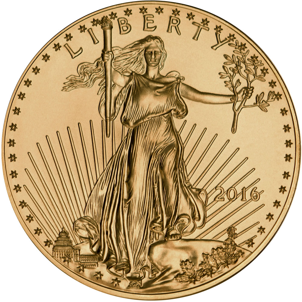 Obverse of 2016 American Gold Eagle Coin