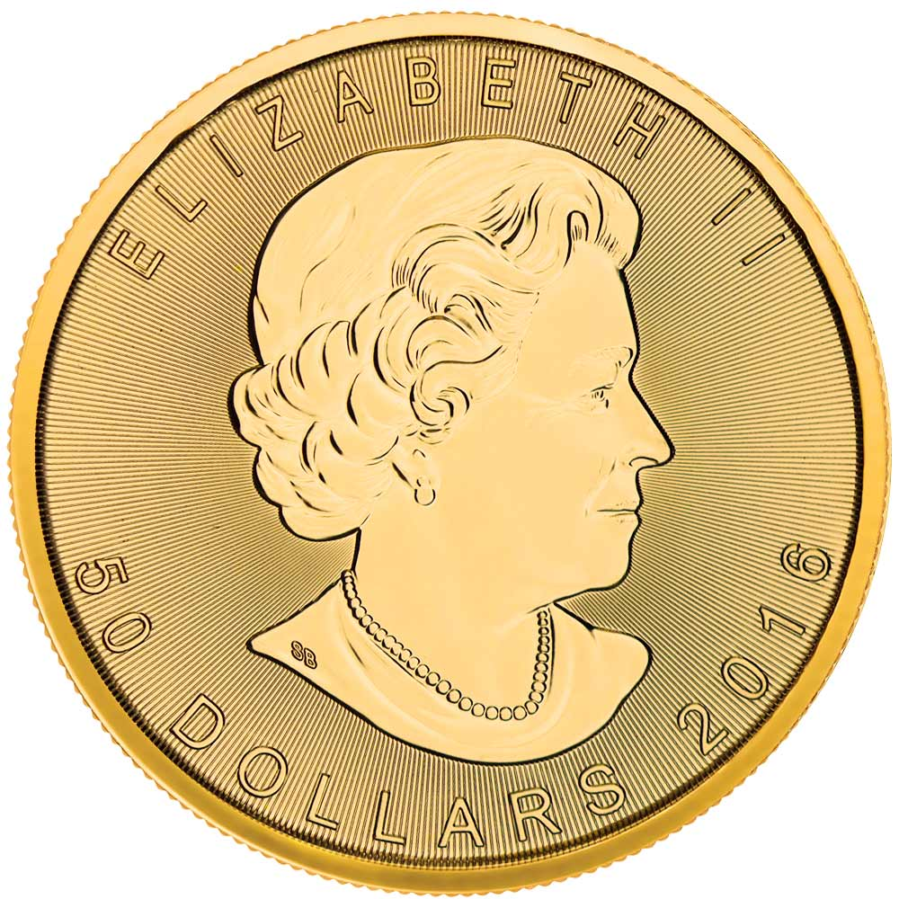 Obverse of 2016 Canadian Maple Leaf Gold Coin