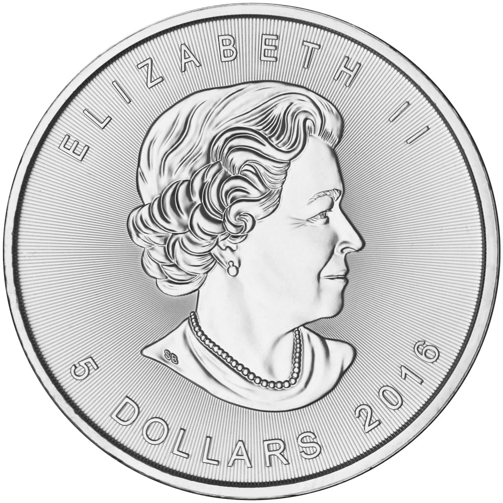 Obverse of 2016 Canadian Maple Leaf Silver Coin