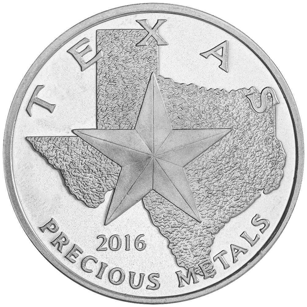Obverse of 2016 Texas Silver Round