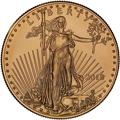 Obverse of 2018 American Gold Eagle Coin