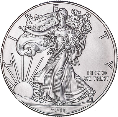Obverse of 2018 American Silver Eagle Coin
