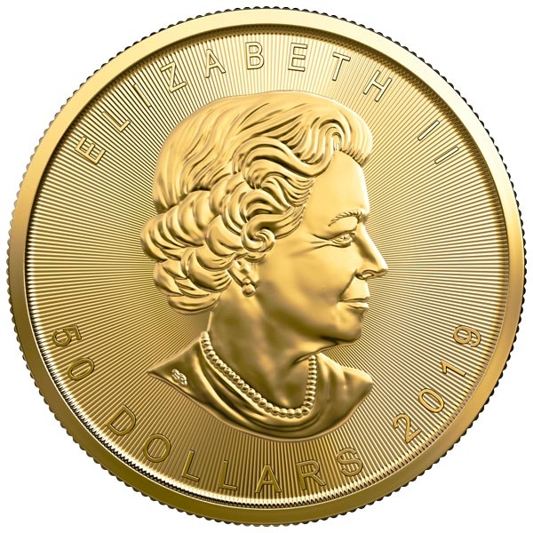 Obverse of 2019 Canadian Maple Leaf Gold Coin
