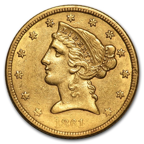 $5 Liberty Gold Half Eagle AU (Random Year)