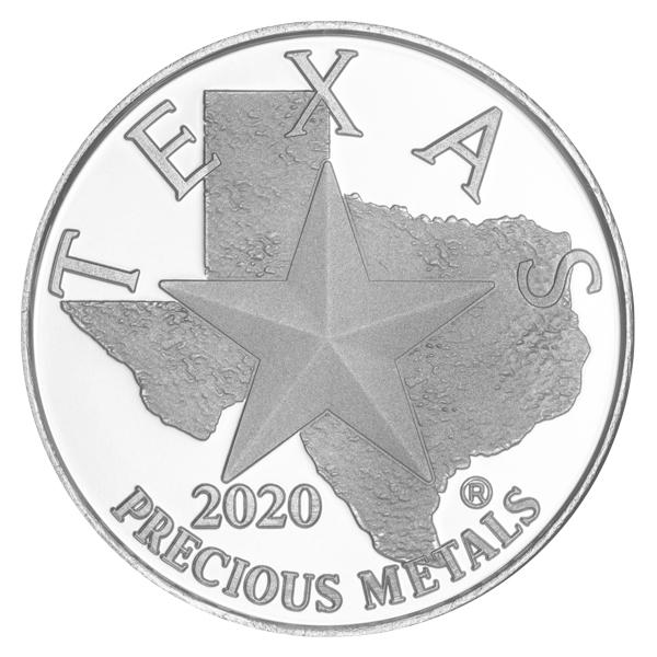 Obverse of 2020 Texas Silver Round