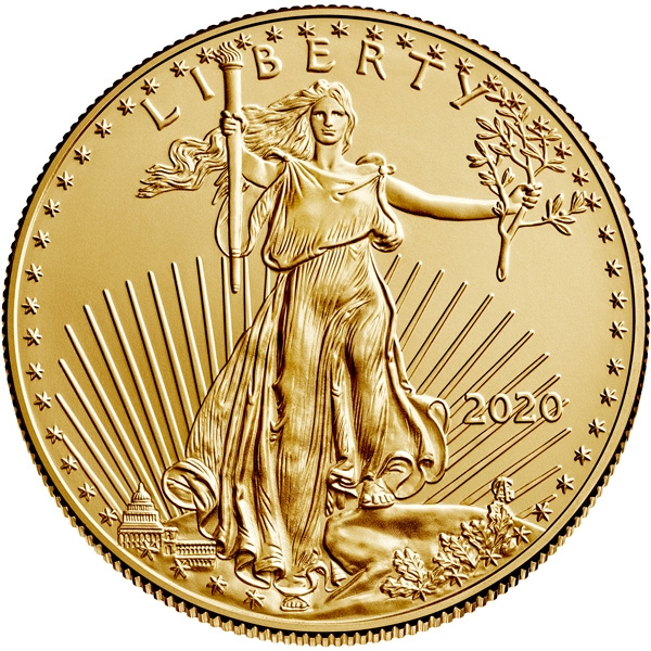 Obverse of 2020 American Gold Eagle Coin