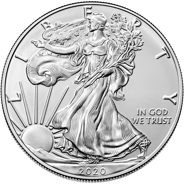 Obverse of 2020 American Silver Eagle Coin