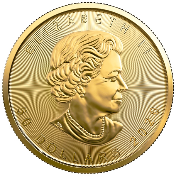Obverse of 2020 Canadian Maple Leaf Gold Coin