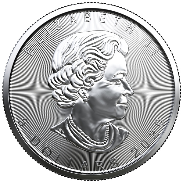 Obverse of 2020 Canadian Silver Maple Leaf Coin