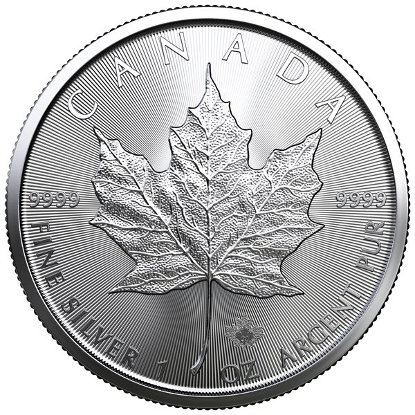 Reverse of 2020 Canadian Silver Maple Leaf Coin