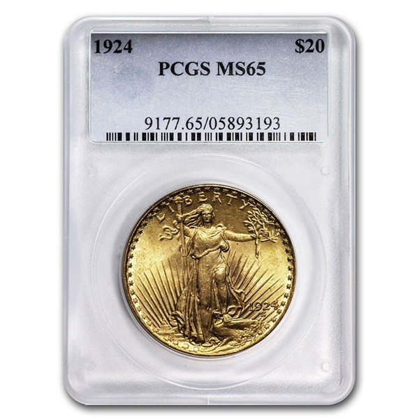Obverse of $20 Saint-Gaudens Gold Double Eagle MS-64