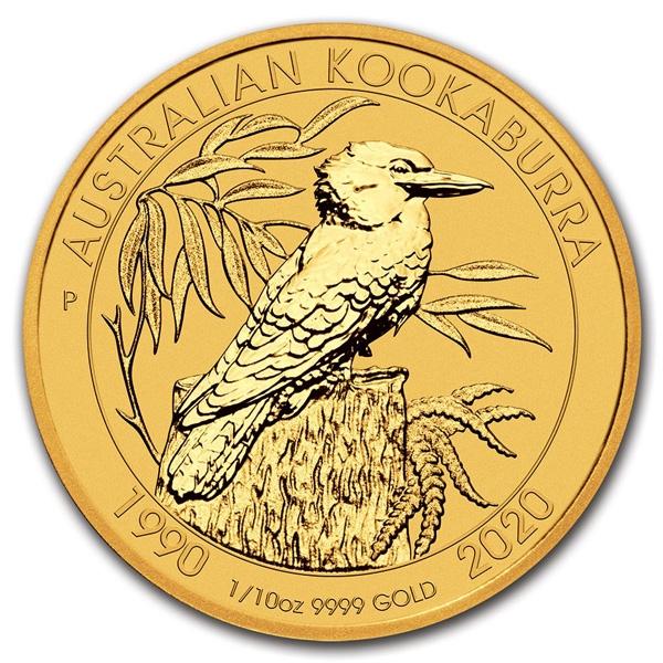 Obverse of 1/10 oz Australian Gold Kookaburra