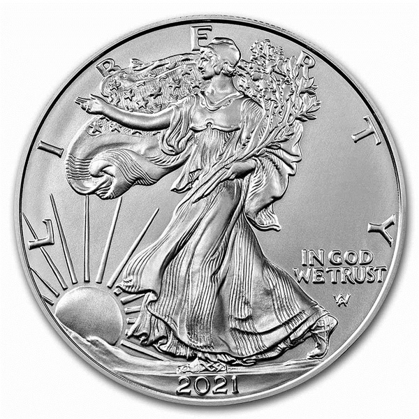 Obverse of 2021 American Silver Eagle Coin - Type 2