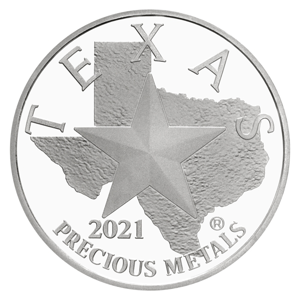 Obverse of 2021 Texas Silver Round