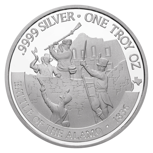 Reverse of 2021 Texas Silver Round