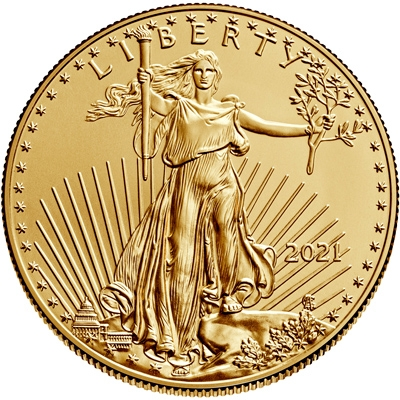 Obverse of 2021 American Gold Eagle Coin