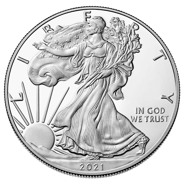 Reverse of 2021 American Silver Eagle Coin - Obverse