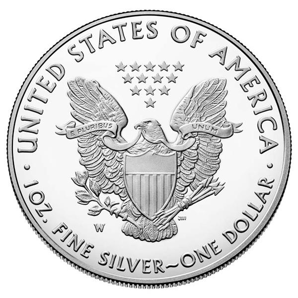 Obverse of 2021 American Silver Eagle Coin - Reverse