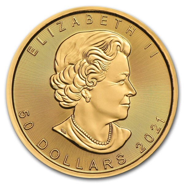Obverse of 2021 Canadian Maple Leaf Gold Coin