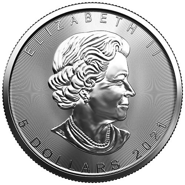 Obverse of 2021 Canadian Silver Maple Leaf Coin