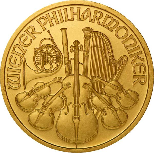 Obverse of Austrian Gold Philharmonics Coin