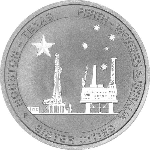 Reverse of 1/2 oz Silver Perth-Houston Sister Cities