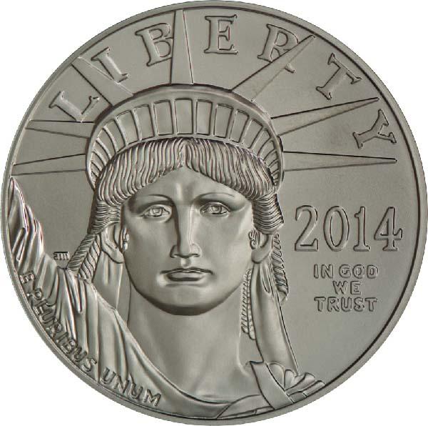 Obverse of American Platinum Eagle Coin (Any Year)